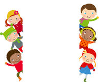 Gruppo di bambini e di telaio - inverno Fotografie Stock