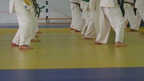Gruppo di bambini in kimono che sta sul tatami sulla formazione di arti marziali archivi video