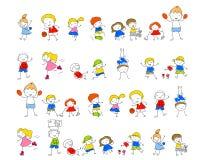 Gruppo di bambini, schizzo di disegno Immagine Stock