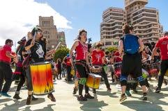 Gruppo di batteristi sul carnevale 2015 in Tenerife Fotografia Stock Libera da Diritti