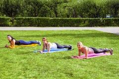 Gruppo di belle giovani donne viscose in buona salute soddisfatte che fanno i exersices della plancia sull'erba verde nel parco,  fotografie stock