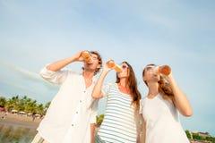 Gruppo di birra bevente felice dei giovani sul Fotografia Stock