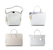 Gruppo di borse di cuoio delle donne isolate su fondo bianco Fotografia Stock