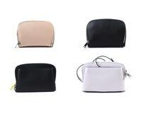 Gruppo di borse di cuoio delle donne isolate su fondo bianco Immagine Stock