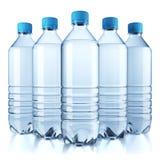Gruppo di bottiglia di plastica con acqua Immagini Stock Libere da Diritti