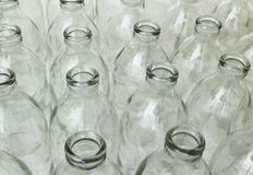 Gruppo di bottiglie di vetro vuote Immagine Stock