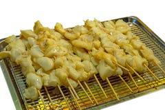 Gruppo di calamari e di polipo freschi con salsa sul bastone immagini stock