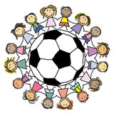 Gruppo di calcio dei bambini - gruppo dei bambini s Fotografia Stock