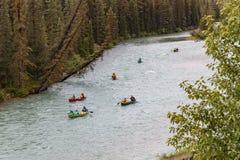 Gruppo di canoisti su un fiume attraverso una foresta Immagini Stock Libere da Diritti