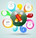 Gruppo di cerchio con le icone e la matita Fotografie Stock