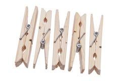 Gruppo di Clothespins di legno Fotografia Stock Libera da Diritti