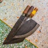Gruppo di coltello della mannaia sull'isolato su immagini stock libere da diritti