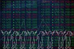 Gruppo di commercianti felici e tristi che affrontano i dati di borsa valori Immagine Stock