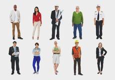 Gruppo di concetto allegro della gente di diversa occupazione Immagine Stock