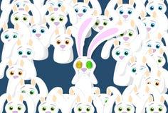 Gruppo di concetto di Bunny Eggs Eyes Easter Holiday dei conigli Immagine Stock