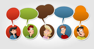 Gruppo di conversazione della gente del fumetto Fotografie Stock Libere da Diritti