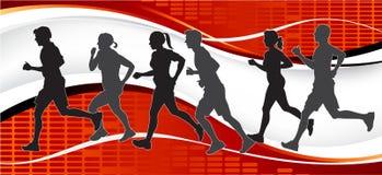 Gruppo di corridori di maratona su priorità bassa astratta. Fotografie Stock