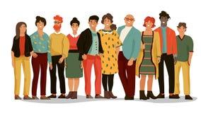 Gruppo di diversa gente Gruppo degli impiegati di ufficio di giovani uomini e donne felici, ritratti del fumetto dei lavoratori M royalty illustrazione gratis