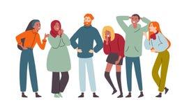 Gruppo di diversa gente felice muti-etnica, ridente insieme ed allegro illustrazione vettoriale