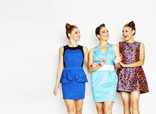 Gruppo di diverse signore alla moda in vestiti luminosi isolati su wh Fotografie Stock Libere da Diritti