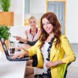 Gruppo di donna di affari graziosa che collabora con il nuovo progetto startup facendo uso del computer portatile in sottotetto m Immagine Stock Libera da Diritti
