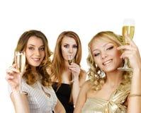 Gruppo di donne con champagne fotografie stock