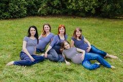 Gruppo di donne incinte che si siedono su un'erba Fotografia Stock