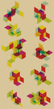 Gruppo di elementi trasparenti di progettazione geometrica. Fotografia Stock