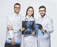 gruppo di esperti in diagnosi con i raggi x su un fondo bianco fotografia stock libera da diritti