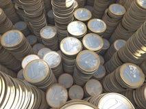 Gruppo di euro mucchi della moneta, scorta dei soldi, grandangolare Fotografia Stock Libera da Diritti