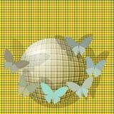 Gruppo di farfalle vicino alla palla sul backgrou Immagini Stock