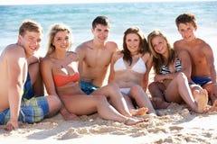 Gruppo di festa adolescente della spiaggia degli amici Fotografia Stock Libera da Diritti