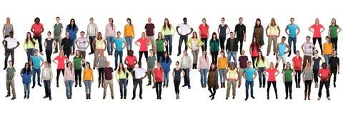 Gruppo di folla del fondo dei giovani in una fila MU multiculturale fotografia stock libera da diritti