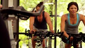 Gruppo di forma fisica che risolve sulla bici di esercizio stock footage