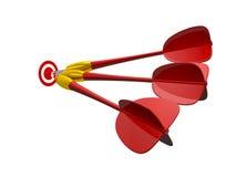 Gruppo di frecce rosse del dardo con l'obiettivo Fotografia Stock
