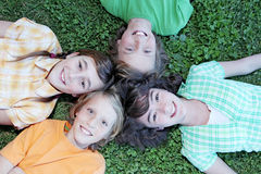 Gruppo di fronti sorridenti felici Fotografie Stock Libere da Diritti