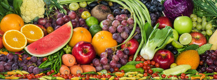 Gruppo di frutta e di verdure fresche Fotografia Stock