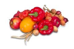Gruppo di frutta e di verdure mature Fotografie Stock
