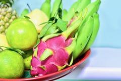 Gruppo di frutti su un vassoio rosso Fotografia Stock Libera da Diritti