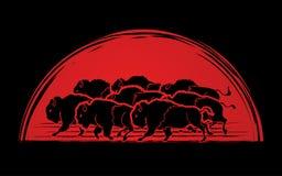 Gruppo di funzionamento del bufalo royalty illustrazione gratis