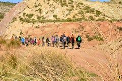 gruppo di gente adulta con trekking variopinto dello zaino su un percorso della sabbia e delle pietre che cammina alla montagna c fotografia stock libera da diritti