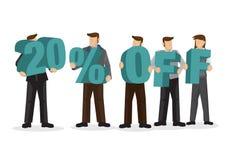 Gruppo di gente di affari che tiene alfabeto gigante per formare perce 20 illustrazione di stock