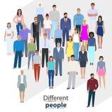 Gruppo di gente di città, illustrazione di vettore Fotografia Stock