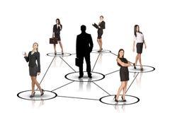 Gruppo di gente di affari con la siluetta del capo Fotografia Stock Libera da Diritti