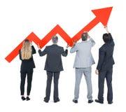 Gruppo di gente di affari sul miglioramento della situazione economica Immagini Stock