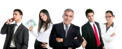 Gruppo di gente di affari in una riga riga isolata Fotografia Stock