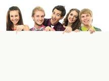 Gruppo di gente felice con la bandiera Fotografia Stock Libera da Diritti