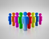 Gruppo di gente sorridente colorata con chiacchierata sociale Fotografia Stock
