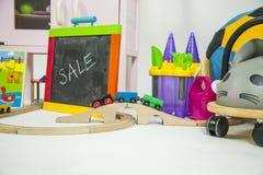 Gruppo di giocattoli in un fondo bianco Fotografie Stock Libere da Diritti