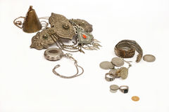 Gruppo di gioiello e di monete antichi Fotografia Stock Libera da Diritti